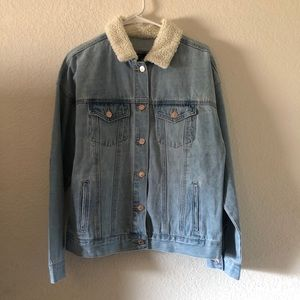 Forever 21 Denim jacket w/ Sherpa-lined collar